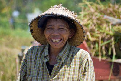 Vriendelijke mensen aan het werk op de rijstvelden van Bali, Indonesie