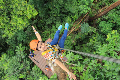 Ziplinen bij Chiang Mai, Thailand